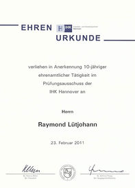 Raymond Lütjohann - Ehrenurkunde Prüfungsausschuss 2011