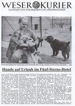 Zeitungsartikel des Weser Kuriers: Hunde auf Urlaub im Fünf-Sterne-Hotel