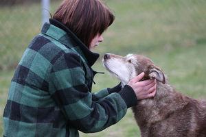 Eine Hundetrainerin schmust mit einer älteren Hündin.