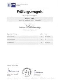 Frau Schütte - Prüfungszeugnis