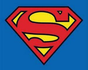 Superman Logo auf blauem Grund