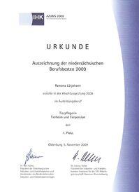 Ramona Lütjohann - Urkunde Berufsbeste 2009