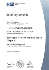 Berufungsurkunde Prüfungsausschuss Tierpfleger 2019-2024 Raymond Lütjohann