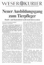 Zeitungsartikel des Weser Kuriers: Neuer Ausbildungsgang zum Tierpfleger