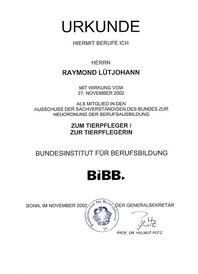 Berufungsurkunde Sachverständiger des Bundes 2002