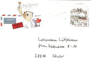 Briefumschlag mit Lohmanns Adresse