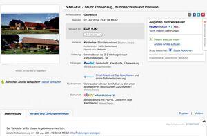Verkaufsanzeige bei Ebay, in der ein Fotoabzug unserer Hundeschule angeboten wird.