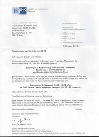Auszeichnung Landessiegerin Niedersachsen 2013