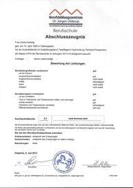 Frau Hartwig - Berufsschulzeugnis
