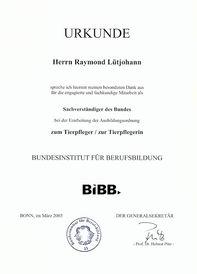 Dankurkunde Sachverständiger des Bundes 2003