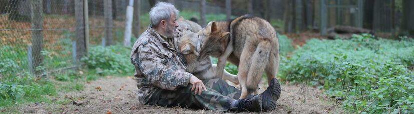 Wolfsforscher Werner Freund sitzt auf dem Waldboden bei drei jungen mongolischen Wölfen.