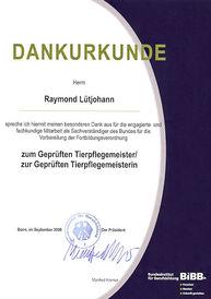 Dankurkunde Sachverständiger des Bundes 2008