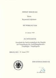 Berufungsurkunde Sachverständiger des Bundes 1999