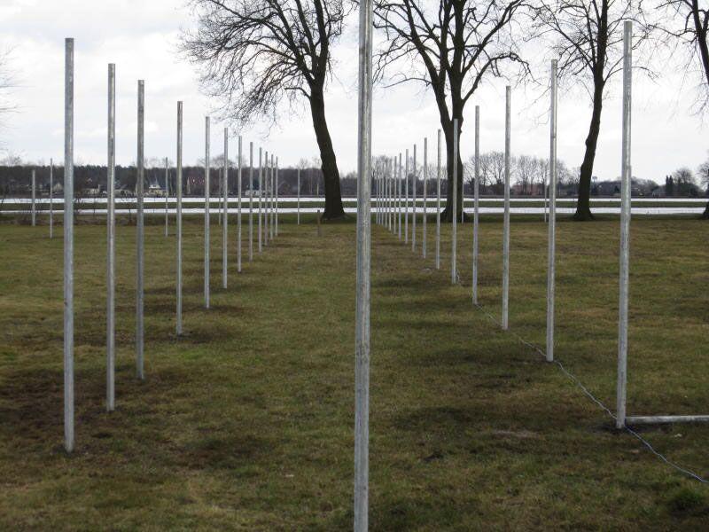 Zwei parallel verlaufende Zaunpfahlreihen lassen bereits den Zwischengang vermuten.