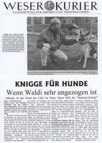 Zeitungsartikel des Weser Kuriers: Knigge für Hunde