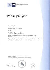 Frau Fründ - Ausbilder-Eignungsprüfung