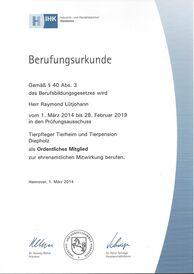 Berufungsurkunde Prüfungsausschuss Tierpfleger 2014-2019 Raymond Lütjohann