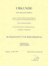 Dankurkunde 1999 Sachverständiger des Bundes Raymond Lütjohann